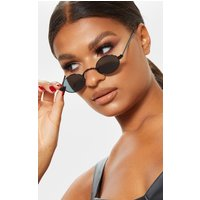 Black Small Squashed Round Lens Sunglasses