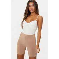 Cream Rib Cup Detail Thong Bodysuit