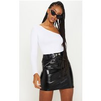 Black Coated Zip Detail Mini Skirt
