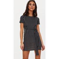 Black Stripe Tie Waist T Shirt Dress