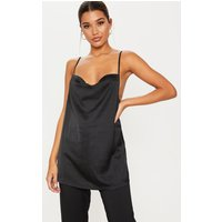 Black Longline Satin Cami Top