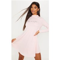 Pastel Pink Buy Me A Gin Slogan Long Sleeve Swing Dress