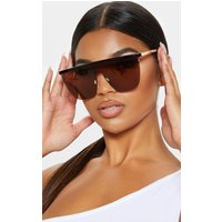 Brown Straight Brow Bar Oversized Sunglasses