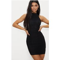 Black High Neck Ruched Detail Bodycon Dress