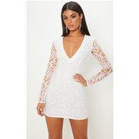White Glitter Plunge Long Sleeve Bodycon Dress