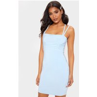 Baby Blue Slinky Ruched Bust Strappy Bodycon Dress