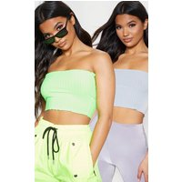 2 Pack Grey & Lime Rib Frill Hem Bandeau Crop Top