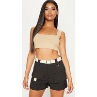 Black Belted Waist Cargo Pocket Front Shorts