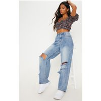 Mid Wash Baggy Low Rise Distressed Boyfriend Jeans