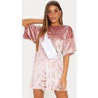 Dusty Pink Velvet Rib Oversized T Shirt Dress
