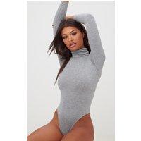 Basic Grey Roll Neck Long Sleeve Bodysuit, Grey