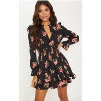 Black Floral Polka Dot Shirred Waist Shirt Dress