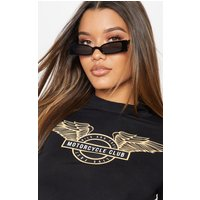 Black Squashed Flat Rectangle Sunglasses