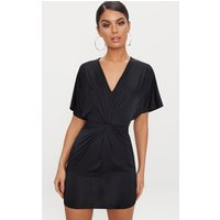 Black Batwing Knot Detail Bodycon Dress
