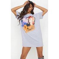 David Bowie Slogan Grey Marl Oversized Tuck Sleeve T Shirt Dress