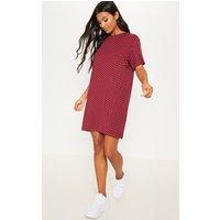 Burgundy Polka Dot Oversized T Shirt Dress