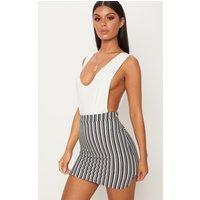 Black Stripe Scuba Curve Hem Mini Skirt