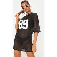 Black Printed Baseball T Shirt Dress