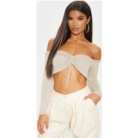 Stone Long Sleeve Ruched Knit Top