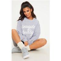 Grey Marl Snuggle Buddy Slogan Sweater