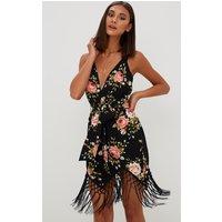 Black Floral Tassel Hem Midi Dress