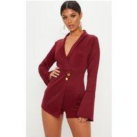Burgundy Flare Sleeve Blazer Playsuit