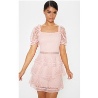 Image of Dusty Pink Square Neck Puff Sleeve Tiered Lace Dress, Dusty Pink