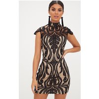 Black Lace Cap Sleeve Bodycon Dress