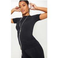 Black Basic Short Sleeve Gym Top