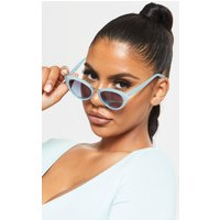 Baby Blue Metal Bridge Sizes Cat Eye Sunglasses