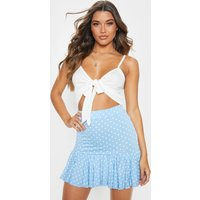 Baby Blue Polka Dot Frill Hem Mini Skirt