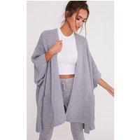 Grey Chunky Knit 3/4 Sleeve Wrap Cardigan