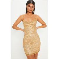 Gold Glitter Strappy Cowl Neck Bodycon Dress