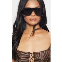 Black Oversize Flat Top Sunglasses