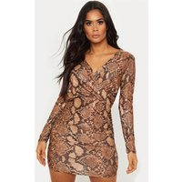 Gold Glitter Snake Print Ruched Shoulder Pad Bodycon Dress