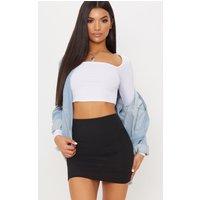 Black High Waisted Ribbed Jersey Mini Skirt