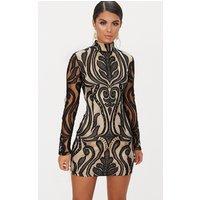 Black High Neck Long Sleeve Lace Bodycon Dress
