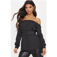 Black Bardot Belted Shirt