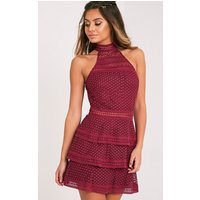 Berry Lace Panel Tiered Bodycon Dress