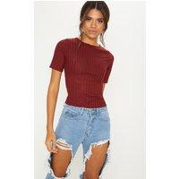Deep Burgundy Rib Short Sleeve Tshirt
