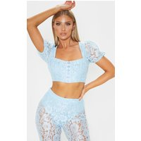Baby Blue Lace Puff Sleeve Hook & Eye Crop Top