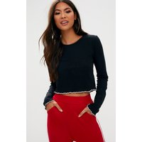 Black Ribbed Longsleeve Frill Edge Crop Top