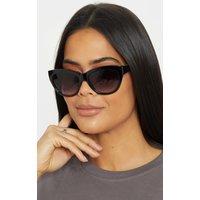 Black Resin Grey Smoke Lens Oversized Cat Eye Sunglasses