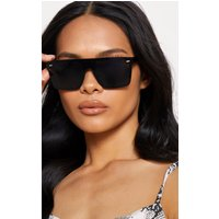 Black Oversized Resin Frame Fade Lens Sunglasses