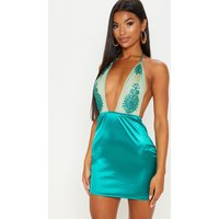Green Halterneck Glitter Applique Satin Bodycon Dress
