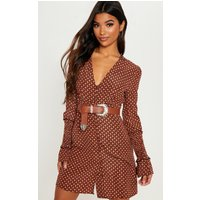 Rust Tile Print Covered Button Front Swing Dress