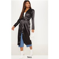 Tall Black Satin Duster Jacket