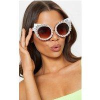 Crystal Statement Diamante Round Pointy Cat Eye Glasses