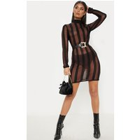 Brown Striped Metallic Fitted Dress