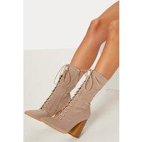 Beige Block Heel Lace Up Lycra Sock Boot